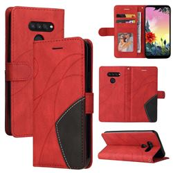 Luxury Two-color Stitching Leather Wallet Case Cover for LG K50S - Red