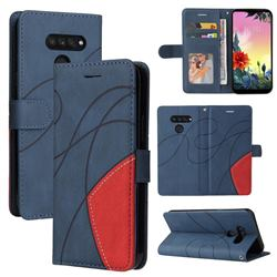 Luxury Two-color Stitching Leather Wallet Case Cover for LG K50S - Blue