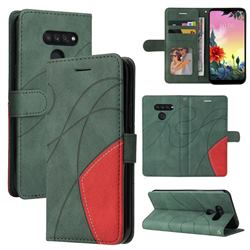 Luxury Two-color Stitching Leather Wallet Case Cover for LG K50S - Green