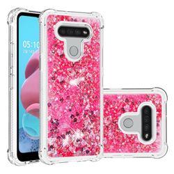 Dynamic Liquid Glitter Sand Quicksand TPU Case for LG K51 - Pink Love Heart