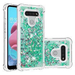 Dynamic Liquid Glitter Sand Quicksand TPU Case for LG K51 - Green Love Heart