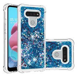Dynamic Liquid Glitter Sand Quicksand TPU Case for LG K51 - Blue Love Heart