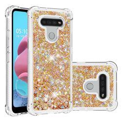 Dynamic Liquid Glitter Sand Quicksand TPU Case for LG K51 - Rose Gold Love Heart