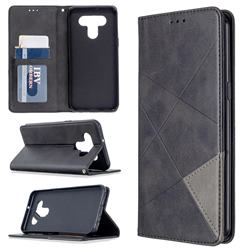 Prismatic Slim Magnetic Sucking Stitching Wallet Flip Cover for LG K51 - Black