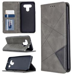 Prismatic Slim Magnetic Sucking Stitching Wallet Flip Cover for LG K51 - Gray