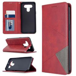 Prismatic Slim Magnetic Sucking Stitching Wallet Flip Cover for LG K51 - Red