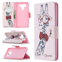 Glasses Giraffe Leather Wallet Case for LG K51