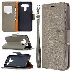 Classic Luxury Litchi Leather Phone Wallet Case for LG K51 - Gray