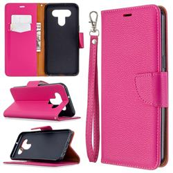 Classic Luxury Litchi Leather Phone Wallet Case for LG K51 - Rose