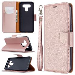 Classic Luxury Litchi Leather Phone Wallet Case for LG K51 - Golden