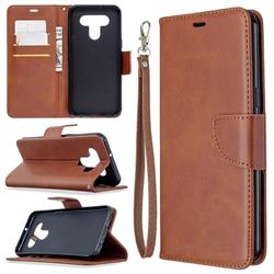 Classic Sheepskin PU Leather Phone Wallet Case for LG K51 - Brown