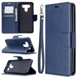 Classic Sheepskin PU Leather Phone Wallet Case for LG K51 - Blue