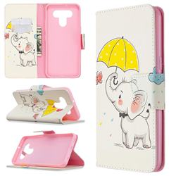 Umbrella Elephant Leather Wallet Case for LG K51