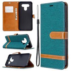 Jeans Cowboy Denim Leather Wallet Case for LG K51 - Green