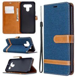 Jeans Cowboy Denim Leather Wallet Case for LG K51 - Dark Blue