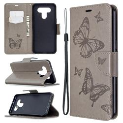 Embossing Double Butterfly Leather Wallet Case for LG K51 - Gray