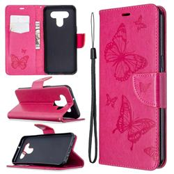 Embossing Double Butterfly Leather Wallet Case for LG K51 - Red