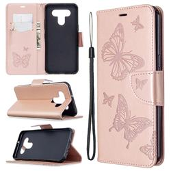 Embossing Double Butterfly Leather Wallet Case for LG K51 - Rose Gold