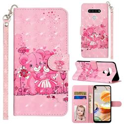 Pink Bear 3D Leather Phone Holster Wallet Case for LG K51