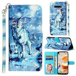 Snow Wolf 3D Leather Phone Holster Wallet Case for LG K51