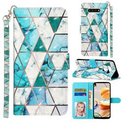 Stitching Marble 3D Leather Phone Holster Wallet Case for LG K51
