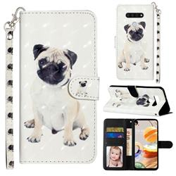 Pug Dog 3D Leather Phone Holster Wallet Case for LG K51