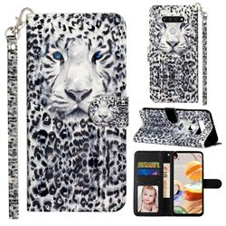 White Leopard 3D Leather Phone Holster Wallet Case for LG K51