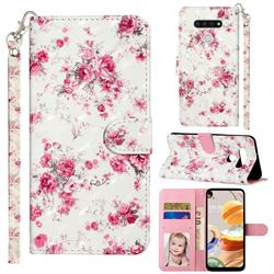 Rambler Rose Flower 3D Leather Phone Holster Wallet Case for LG K51