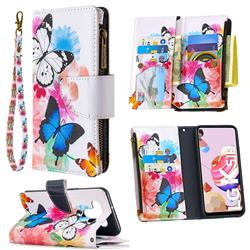 Vivid Flying Butterflies Binfen Color BF03 Retro Zipper Leather Wallet Phone Case for LG K51
