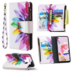 Seven-color Flowers Binfen Color BF03 Retro Zipper Leather Wallet Phone Case for LG K51