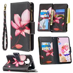 Lotus Flower Binfen Color BF03 Retro Zipper Leather Wallet Phone Case for LG K51