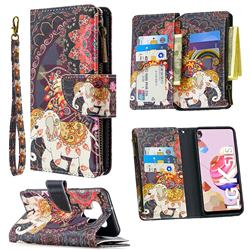 Totem Flower Elephant Binfen Color BF03 Retro Zipper Leather Wallet Phone Case for LG K51