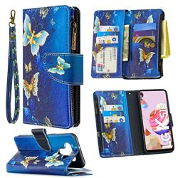 Golden Butterflies Binfen Color BF03 Retro Zipper Leather Wallet Phone Case for LG K51