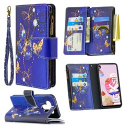 Purple Butterfly Binfen Color BF03 Retro Zipper Leather Wallet Phone Case for LG K51