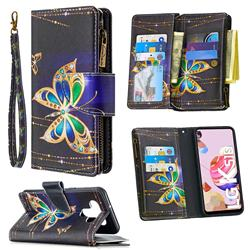 Golden Shining Butterfly Binfen Color BF03 Retro Zipper Leather Wallet Phone Case for LG K51