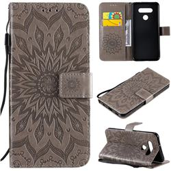 Embossing Sunflower Leather Wallet Case for LG K51 - Gray