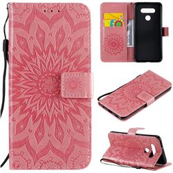 Embossing Sunflower Leather Wallet Case for LG K51 - Pink