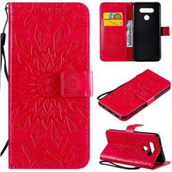 Embossing Sunflower Leather Wallet Case for LG K51 - Red
