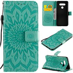 Embossing Sunflower Leather Wallet Case for LG K51 - Green