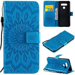 Embossing Sunflower Leather Wallet Case for LG K51 - Blue