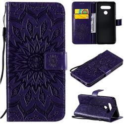 Embossing Sunflower Leather Wallet Case for LG K51 - Purple