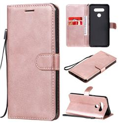 Retro Greek Classic Smooth PU Leather Wallet Phone Case for LG K51 - Rose Gold