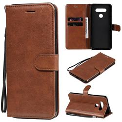 Retro Greek Classic Smooth PU Leather Wallet Phone Case for LG K51 - Brown