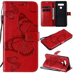 Embossing 3D Butterfly Leather Wallet Case for LG K51 - Red