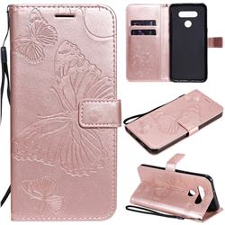 Embossing 3D Butterfly Leather Wallet Case for LG K51 - Rose Gold