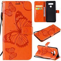 Embossing 3D Butterfly Leather Wallet Case for LG K51 - Orange