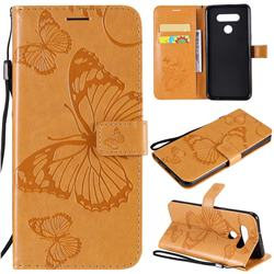 Embossing 3D Butterfly Leather Wallet Case for LG K51 - Yellow