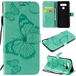 Embossing 3D Butterfly Leather Wallet Case for LG K51 - Green