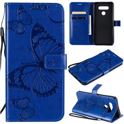 Embossing 3D Butterfly Leather Wallet Case for LG K51 - Blue