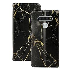 Black Gold Marble PU Leather Wallet Case for LG K51